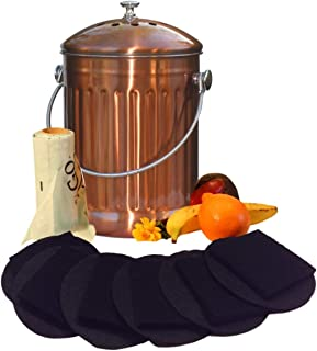 Copper Kitchen Compost Bin Countertop – LARGE 1.3 Gallon Food Scrap Container, Leak proof Stainless Steel with Copper Plating - Includes 1 Year's Worth of Dual Charcoal Filters & Compost Pa