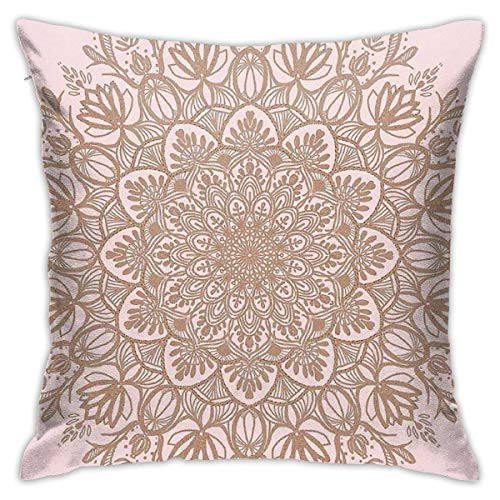 Ahdyr Rose Gold Beige Mandala Cushion Throw Pillow Cover Decorative Pillow Case For Sofa Bedroom 18 X 18 Inch
