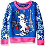 Blizzard Bay Girls Ugly Chrismas Sweater, Blue/Pink/Poodle, S-7/8