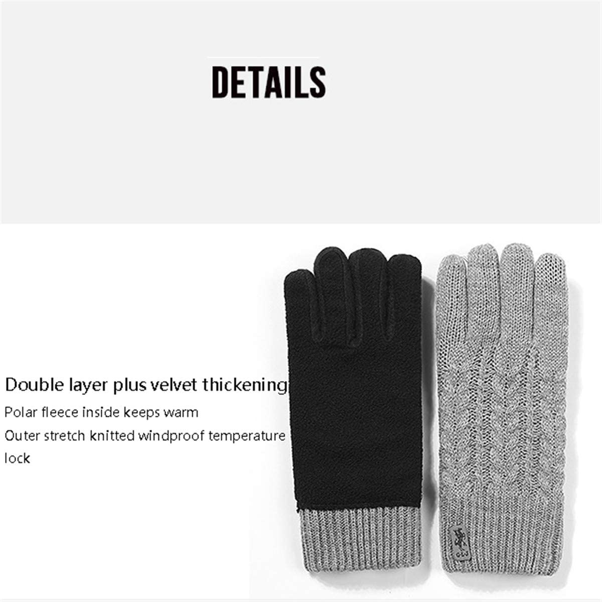 HIMFL Knitted Touch Screen Gloves Autumn and Winter Ladies Gloves Outdoor Double Thickening Plus Velvet Windproof Warmth Play Mobile,Dark Gray