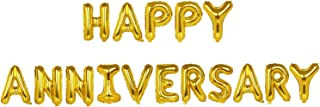 TRIXES Happy Anniversary Balloons – Gold Foil Letters - 16 Inch Large Size – Perfect Party Decoration Supplies for Family Milestone Celebrations and Events