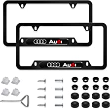Sparkle-um 2Pcs Newest Custom Personalized 4 Hole Matte Aluminum Alloy Audi Logo License Plate Frame with Screw Caps Cover Set,Applicable to US Standard car License Frame, for Audi(Matte Black)