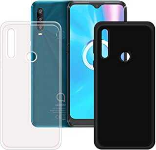 FZZ Slim Thin Black and Transparent Case for Alcatel 1SE Light, Soft Protective Phone Cover With Flexible TPU Protection B...