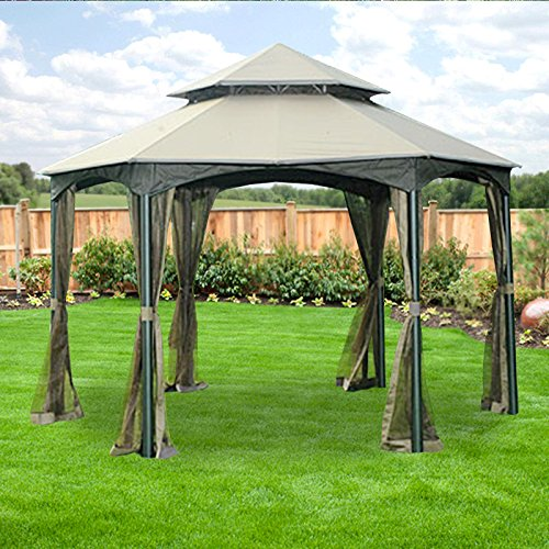 Garden Winds Replacement Canopy for The Southbay Hexagon Gazebo - Riplock 350 - Beige