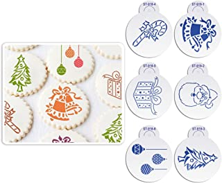 ART Kitchenware 6pcs/set Christmas Stencil Set for Cakes Sugar Decoration Cookie Mold Reusable Stencils for Painting (Bell,Santa Claus,Tree,Gift Box) Beige/Semi-Transparent ST-918S