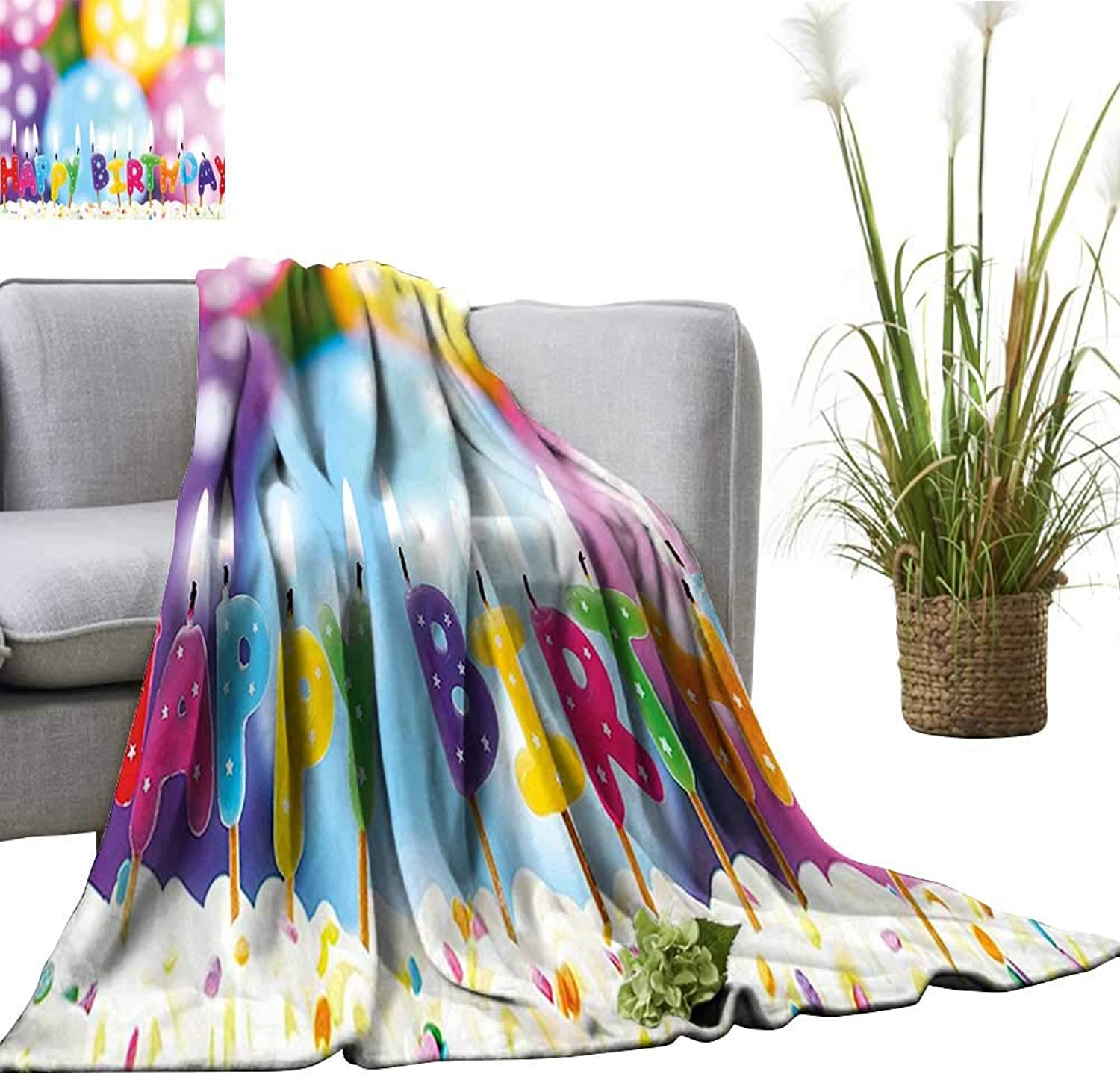 YOYI Baby Blanket for Kids colorful Candles on Party Cake with Abstract bluerry Backdrop Indoor Outdoor, Comfortable for All Seasons 60 x63
