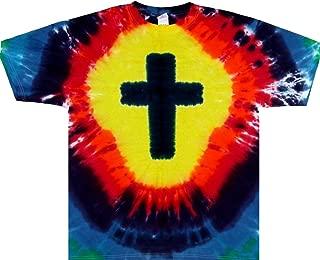 Tie Dyed Shop Cotton Rainbow Christian Cross Religious Tie Dye T Shirt Men Women Teens