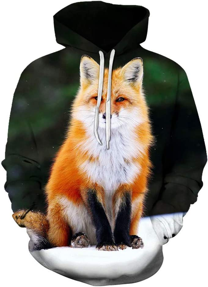 Wojhgegb 3D Pullover 3D Fox Breathable Outwear Western Style Pullover Leisure Men (Color : A01, Size : Large)