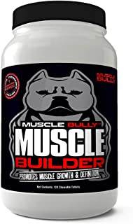 Muscle Builder for Bullies, Pitbulls,Bull Breeds - Contains Proven Muscle Building Ingredients - Muscle Growth & Definition On Your Dog. Made in The USA. 100% Safe, No Side Effects. (120 Tablets)