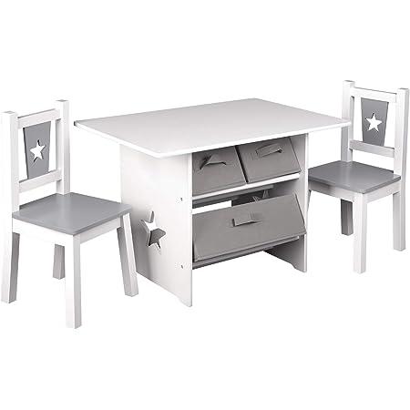 WOLTU 1 Table et 2 chaises pour Enfants,Table Enfant avec 3 paniers de Rangement,Gris Blanc SG011