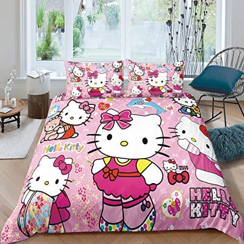 YuanLu Kinder-Bettwäsche-Set für Mädchen, Cartoon-Thema, Heimdekoration, Hello Kitty, Bettbezug-Set für King-Size-Bett, 3-teilig, weiche Mikrofaser (ohne Decke)