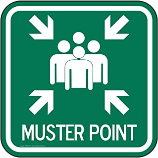 Muster Point Sign, Reflective Green, 12x12 Inch on 80 mil Aluminum for Emergency Response by ComplianceSigns
