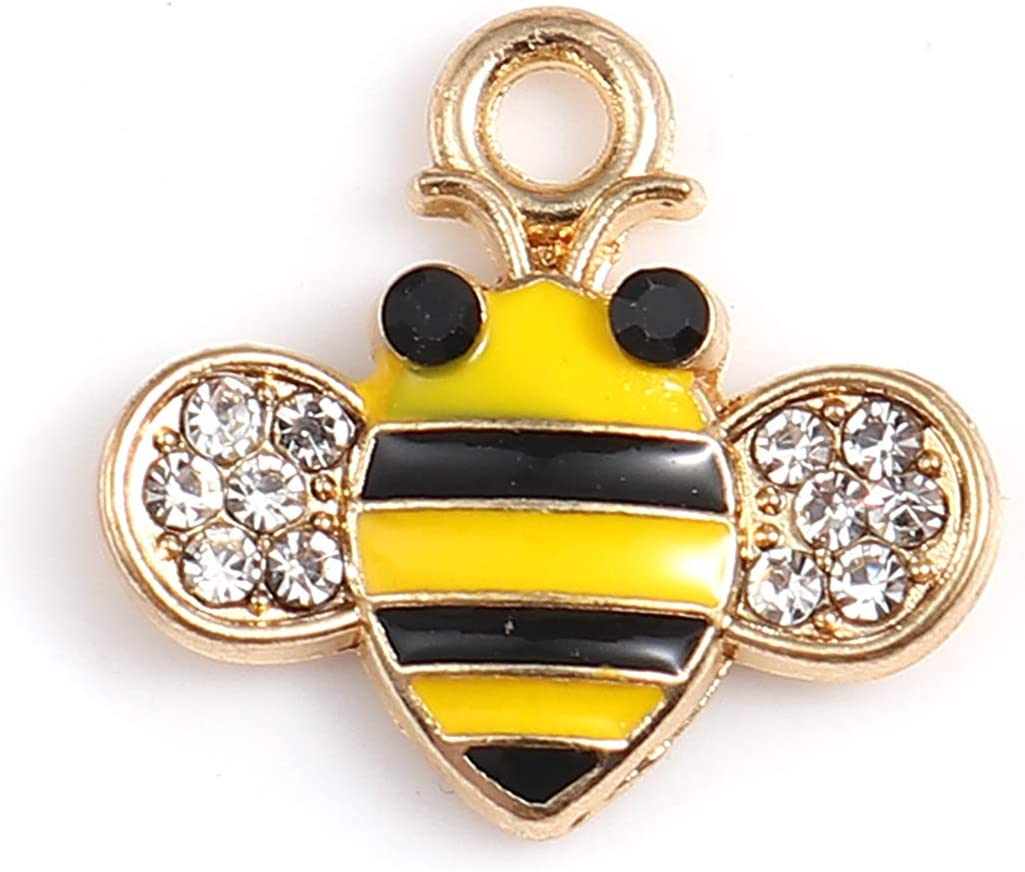 Honeycomb Bee Charms 10 Pack and Enamel Almos with 5 Popular shop is the lowest price challenge ☆ popular Rhinestones