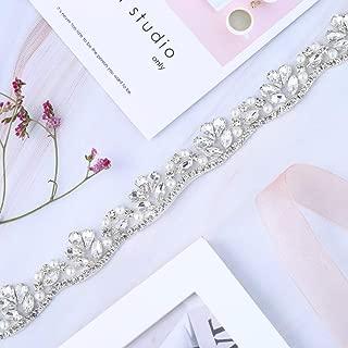 XINFANGXIU Crystal Rhinestone Applique Trim Trimming 1 Yard with Jeweled Diamond Embellishments Sew Iron on Hot Fix for Bridal Wedding Sash Bridesmaid Gown Womens Prom Formal Belt