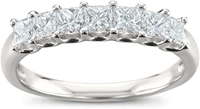 Platinum 7-Stone Princess-cut Diamond Bridal Wedding Band Ring (1 cttw, H-I, SI1-SI2) | Real Diamond Rings For Women | Gif...
