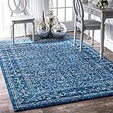 "nuLOOM Waddell Vintage-Teppich, 2,7 m x 3,6 m, dunkelblau Modern 5' x 7' 5"" dunkelblau"