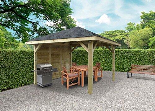 Pavillon Hedera S7773 - 120 x 120 mm Pfostenstärke, kesseldruckimprägniert, Grundfläche: 8,64 m², Satteldach