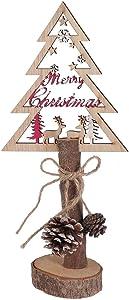 NANIH Home Pequeño árbol de Navidad de Mesa de Madera con Cono de Pino, Copos de Nieve, Estrellas y Renos, Adornos navideños Vintage, Adornos, Centro de Mesa de Navidad