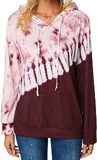Tie Dye Drawstring Pullover Hoodie for Women Kangaroo Pocket Hooded Sweatshirts