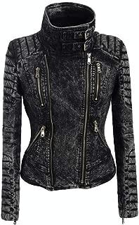 DISSA P322 Women Faux Leather Biker Jacket Slim Coat Leather Jacket