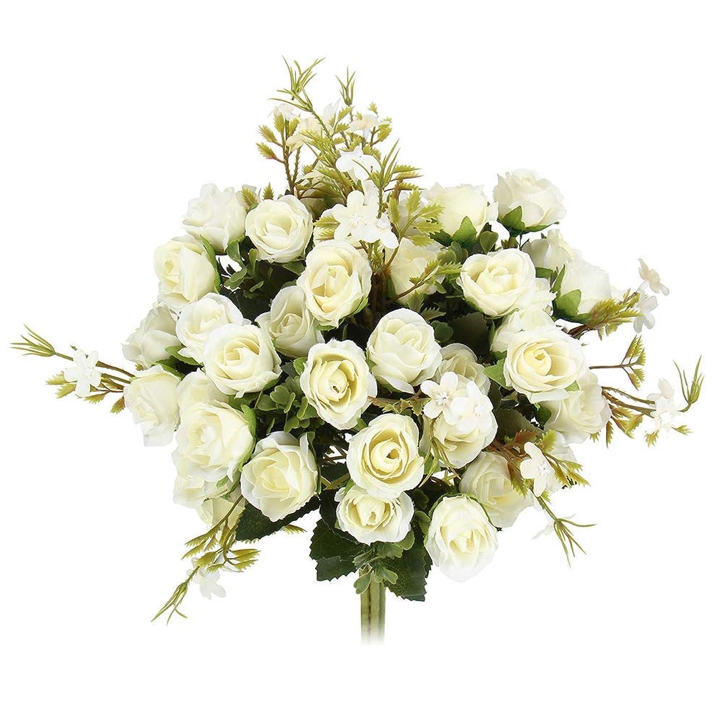 名目上の忠実にカリキュラム4本セット造花バラ 枯れない花 シルクフラワー 造花薔薇 仏花 白【誕生日 お見舞い パーティー結婚式 ウェディングウェルカムスペースインテリア お墓用など最適としてのプレゼント】