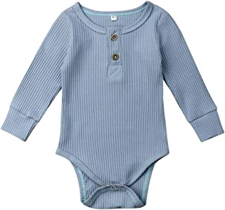 JRPONY Newborn Clothes Knit Romper Long Sleeve Baby Boys Girls Solid Color Bodysuit Jumpsuit
