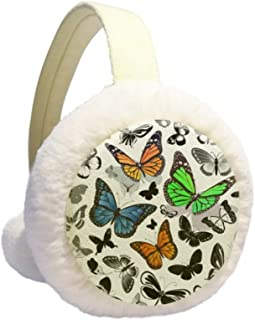 Snowflake Quadrilateral Nordic Illustration Pattern Winter Earmuffs Ear Warmers Faux Fur Foldable Plush Outdoor Gift