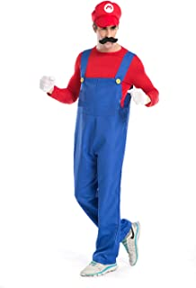 Super Mario Luigi Halloween Costume Super Plumber Fancy Dress Costume for Halloween Christmas Party Cosplay (Red,M)
