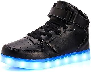 sexphd Boys Girls 11 Colors LED Luminous Knit Sneakers Fashion USB Charging Light Shoes