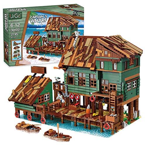 JYING Antiguo Juego de construcción de Muelle de capitanes de Pesca, Edificio Modular de casa, Modelo de Arquitectura de Vista de Calle, 2745 Piezas de Bloques de construcción