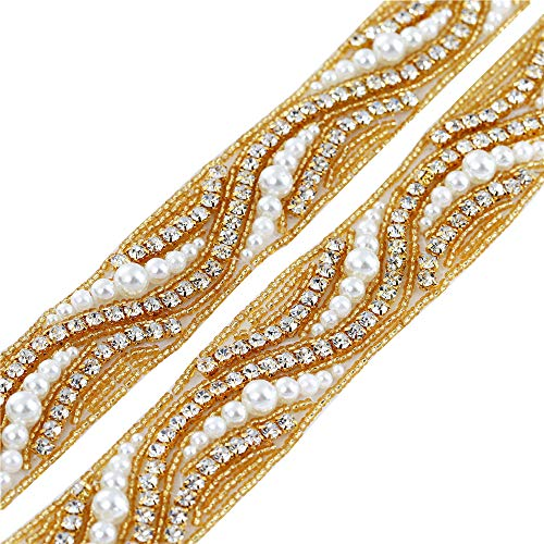 Wedding Applique by Yard, FANGZHIDI Gold Trim Rhinestone Belt with Ivory Pearls, Iron on Sewing Rhinestone Trim Crystal Applique for Wedding Dress Bridal Accessories Home Decorations