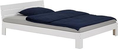 IDIMEX Lit Double pour Adulte Thomas avec tête de lit, Couchage 140 x 200 cm 2 Places / 2 Personnes, en pin Massif lasuré Blanc