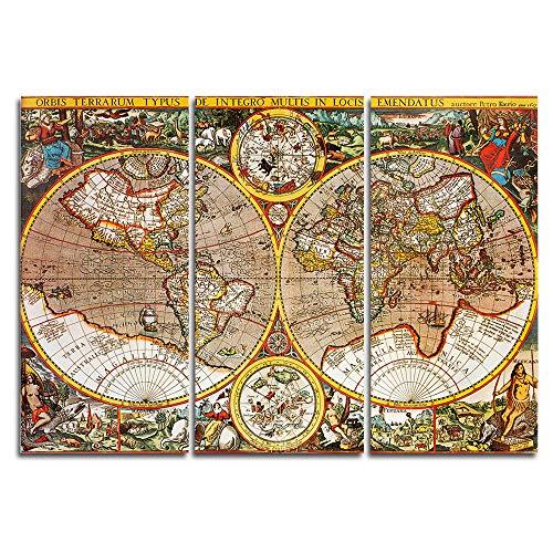 Orlco Art Lot de 3 tableaux muraux marron avec inscription « Word Map » - Impression sur toile - Décoration moderne - 40,6 x 81,4 cm