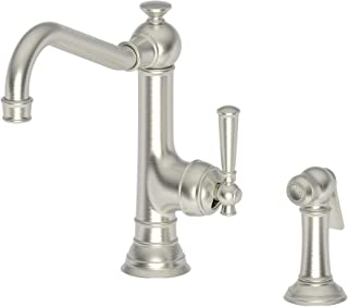 Newport Brass 2470-5313 Jacobean Single Handle Kitchen Faucet with Side Spray, Satin Nickel