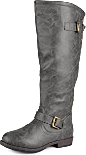 Womens Regular Sized, Wide-Calf and Extra Wide-Calf Studded Knee-High Riding Boot
