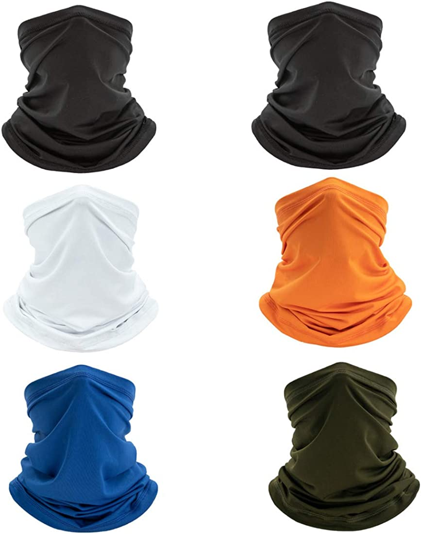 6 Pack Neck Gaiters, Face Coverings for Men/Women Breathable, Sun Uv Protection Face Bandana,Suitable for Cycling, Hiking, Hiking and Other Outdoor Activities