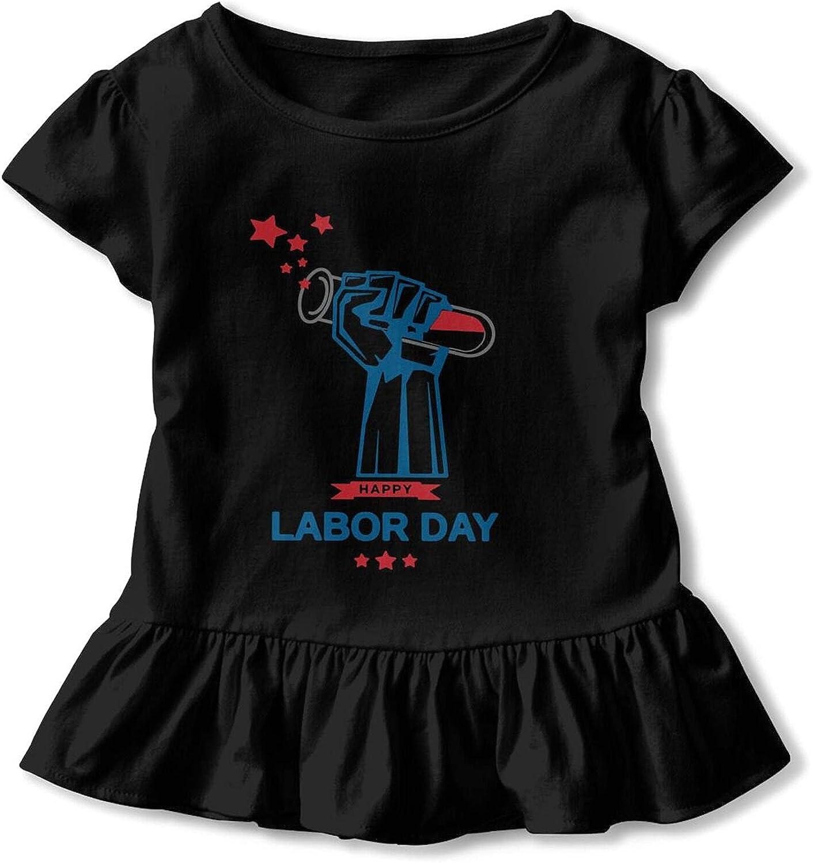 KizzCllo2 Happy Labor Day Babys Girl's Cotton T-Shirt Short T Shirts Dresses