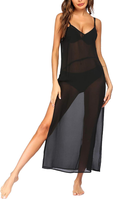 Ekouaer Women Bikini Cover Up Long Chiffon Patchwork Sexy Beachwear Maxi Swimsuit Beach Dress Loose Coverups Casual S-XXL