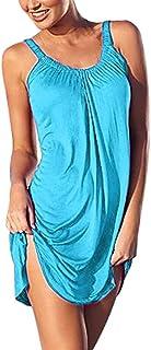 SANFASHION Bekleidung Vestito Selvaggio Casual Estivo Stampa Stampa Larga di Grandi Dimensioni Vestito Triangolo Senza Maniche Donna