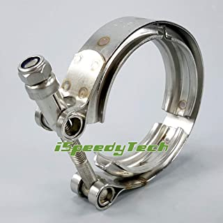 2.5 IspeedyTech V Band kit Stainless Steel 304 Exhaust Turbo Downpipe Down Pipe Clamp Assembly Heavy Duty Male Female Flange V-band Set