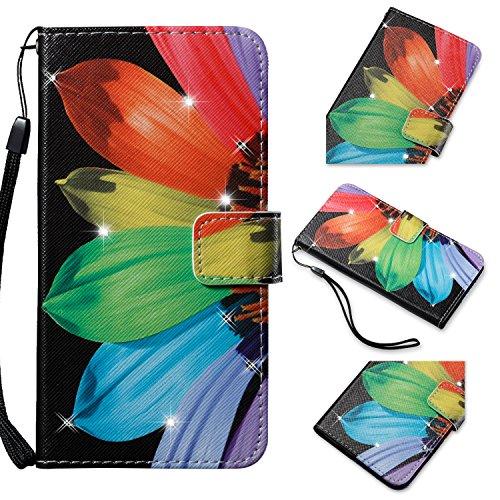 Tikeda LG Aristo Case, LG Phoenix 3 Case, LG K8 K7 Diamond BlingBling Case (2017), PU Leather Wallet Flip Case Card Slots & Wrist Strap Protective Cover (Sunflower)