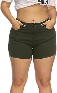 91962a923f Allegrace Women Plus Size High Rise Denim Shorts Summer Casual Stretch  Short Jeans