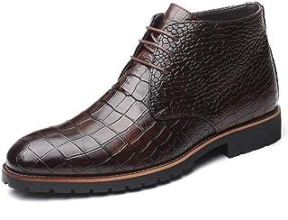 Hommes Bottes En Cuir De Mode Bout Pointu À Lacets Talon Carré Bottes De Cheville Classique Motif Crocodile Chaud Plus La ...