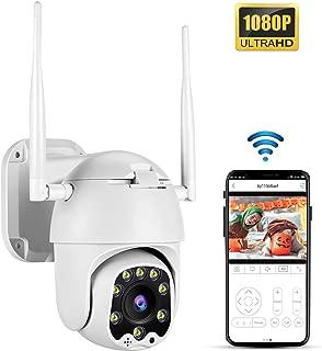 TOMLOV PTZ Camera WiFi Outdoor Security 1080P HD 4X Digital Zoom 3.6mm Fixed Lens 33ft Smart Night Vision Pan 320° Tilt 100° 5dbi Antenna Detection Alarm APP Remote Monitoring