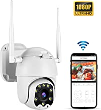 TOMLOV PTZ Camera WiFi Outdoor Security 1080P HD 4X Digital Zoom 3.6mm Fixed Lens 33ft Smart Night Vision Pan 320° Tilt 100° 5dbi Antenna Detection Alarm APP Remote Monitoring