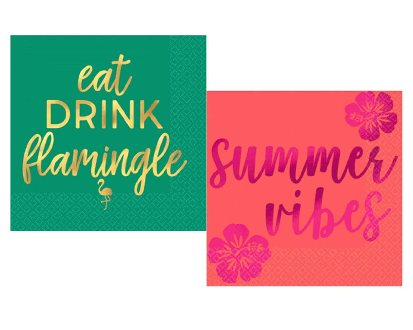 Tropical Flamingle Aloha Summer Vibes Party Napkins Bundle: Includes 32 Hot-Stamped Cocktail Beverage Napkins in 2 Different Designs