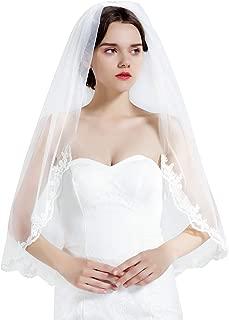 "Wedding Bridal Veil with Comb 1 Tier Lace Applique Edge Fingertip Length 36"""