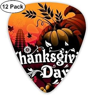 Thanksgiving Day ピック ギターピック 12個入り それぞれ厚さ カラフル ピックケース付き 12枚セット 多種多色Thin 0.46mm、Medium 0.71mm、Heavy 0.96mm 各4枚 ティアドロップピック