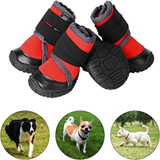 PETLOFT Dog Boots, Slip Resistant 4pcs Dog Puppy Shoes Pet Booties with Adjustable Fastener Strap for Small Medium Large Dogs, Protect Paws Easy to Wear