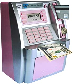 EOBTAIN ATM Piggy Bank for Real Money ATM Savings Bank for Kids Girls Adults Toy Mini Pink ATM Machine ATM Savings Bank Pe...